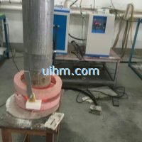 induction heating ends of steel pipe by MF induction heater
