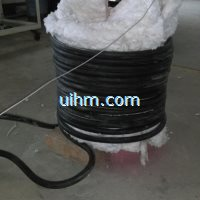induction heating steel pipes by water cooled flexible induction coil and 120KW RF induction heater